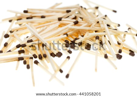 Close-up view of a bunch of matches with brown heads on a white background.
