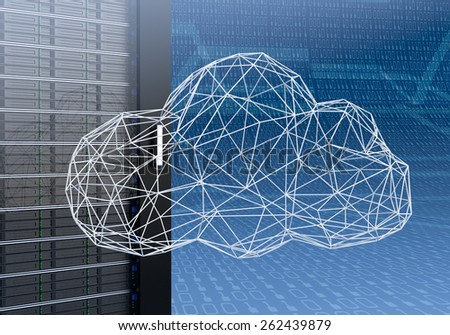 close up view of a computer server cabinet with a cloud made with the technique of wireframe modeling, blue background with binary numbers (3d render) - stock photo