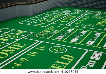 close up view of a craps table (3d render) - stock photo