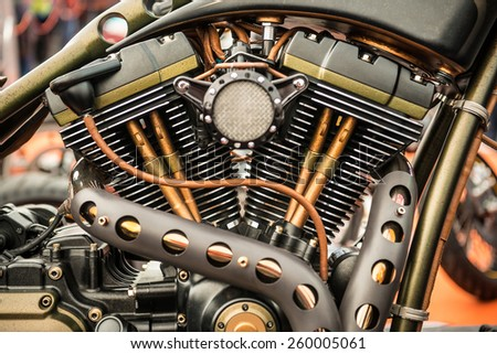 Close up view of a custom motorcycle engine - stock photo