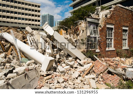 Close up view of a demolished building at a construction site. - stock photo