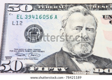 Close-up view of a 50 dollar United States treasury note