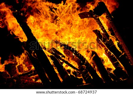 Close up view of a fire - stock photo
