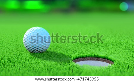 Close up view of a golf ball on the green near the hole. Win concept. 3D Rendering