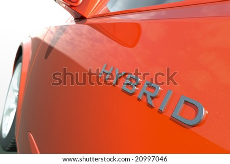 Close up view of a hybrid car - stock photo