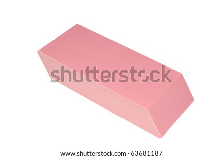 Close-up View of a Large Pink Eraser Isolated on White - stock photo