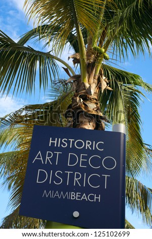 Close up view of a Miami Beach Art Deco District street sign. - stock photo
