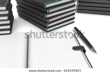 close up view of a paper notebook with blank pages, a pen, some stacks of paper notebooks on white background (3d render) - stock photo