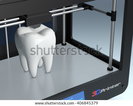 close up view of a professional 3d printer that builds a tooth, concept of 3d printing and medicine (3d render) - stock photo