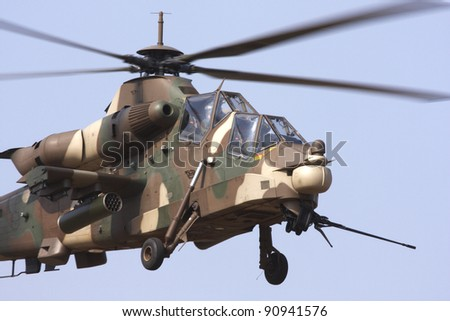 Close up view of a Rooivalk attack helicopter - stock photo