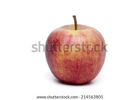 Close up view of a single red apple isolated on a white background. - stock photo