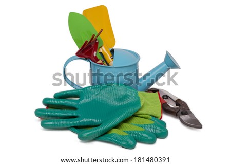 Close up view of a small gardening tools isolated on a white background.