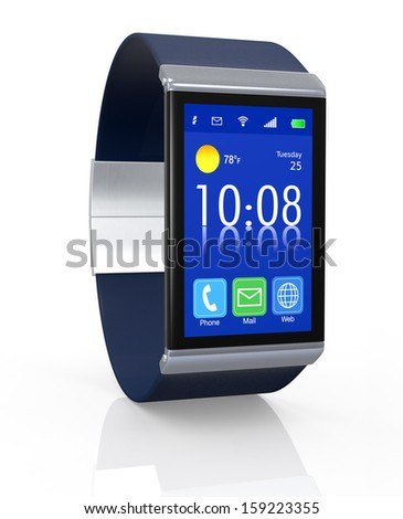 close up view of a smart watch with apps icons (3d render) - stock photo