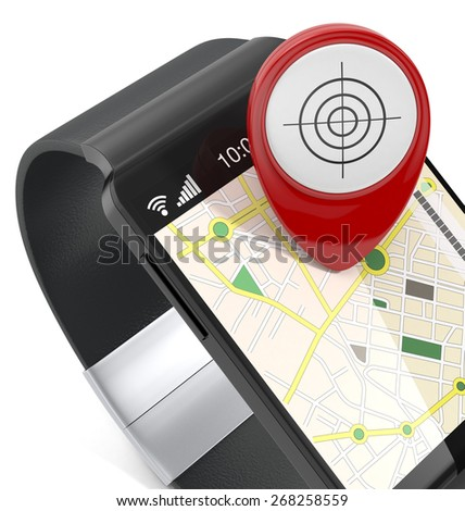 close-up view of a smartwatch with gps navigation app and a pin, on white background (3d render) - stock photo