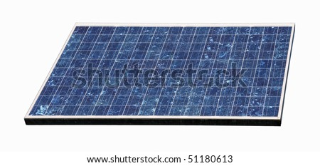 Close-up view of a Solar panel, isolated on white background