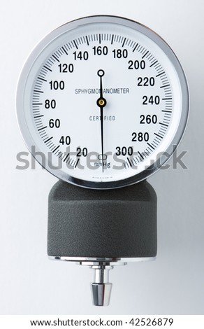 close up view of a sphygmomanometer. - stock photo