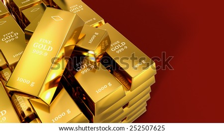 close up view of a stack of gold bars on red background, space for custom text (3d render) - stock photo