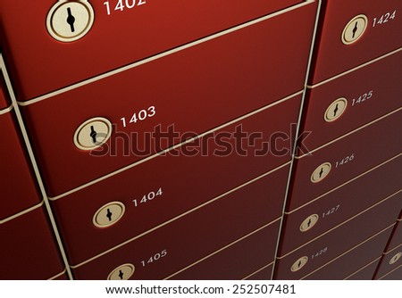 close up view of a stack of safe boxes (3d render) - stock photo