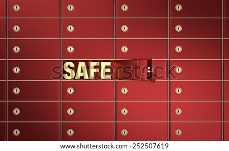 close up view of a stack of safe boxes, one of them is open, with text:safe, inside it (3d render) - stock photo