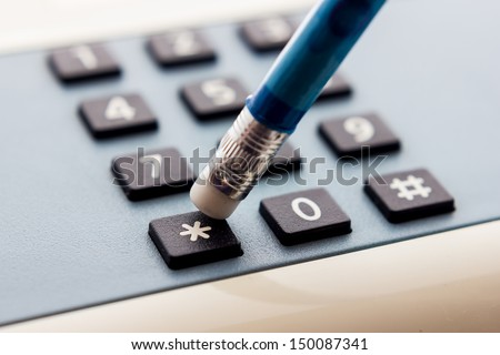 Close up view of a telephone keyboard - stock photo