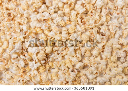 Close up view of a texture background with sweet and tasty popcorn. - stock photo