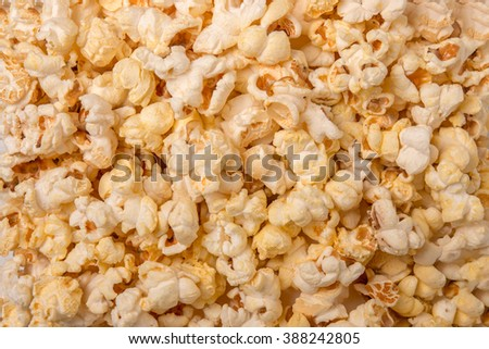 Close up view of a texture background with sweet and tasty popcorn.