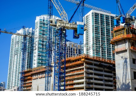 Close up view of a urban downtown construction site. - stock photo