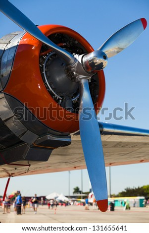 Close up view of a vintage propeller airplane engine. - stock photo