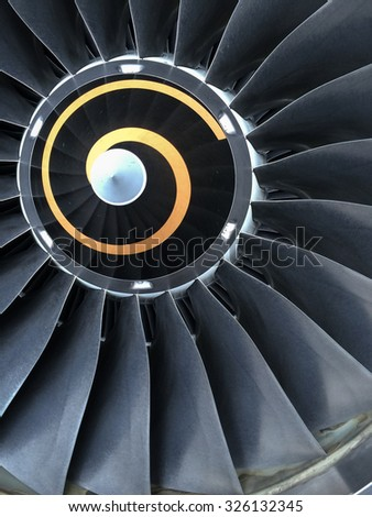 Close up view of Aircraft engine, portrait view - stock photo