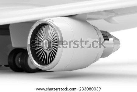 Close-up View of Airplane Turbine Engine isolated on white background. Focus on Turbine - stock photo
