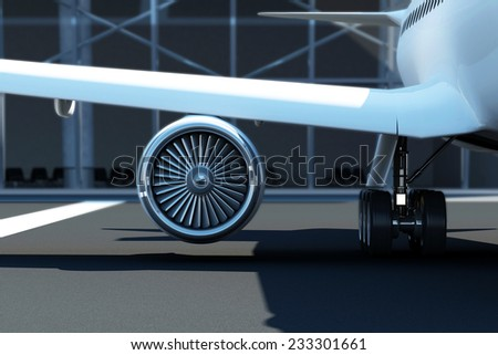 Close-up View of Airplane Turbine Engine. Passenger Aircraft at the Airport Waits near the Terminal - stock photo