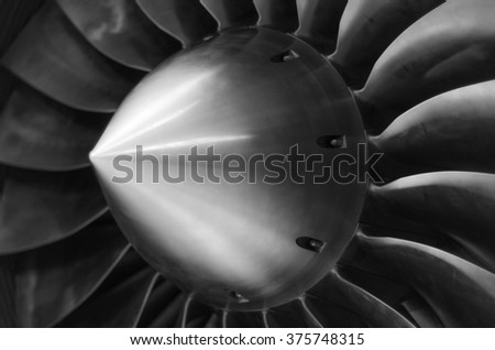 Close up view of an airplane turbine in black and white - stock photo