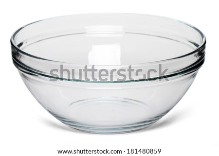 Close up view of an empty salad bowl isolated on a white background. - stock photo