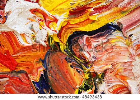 close-up view of an oil painting - stock photo