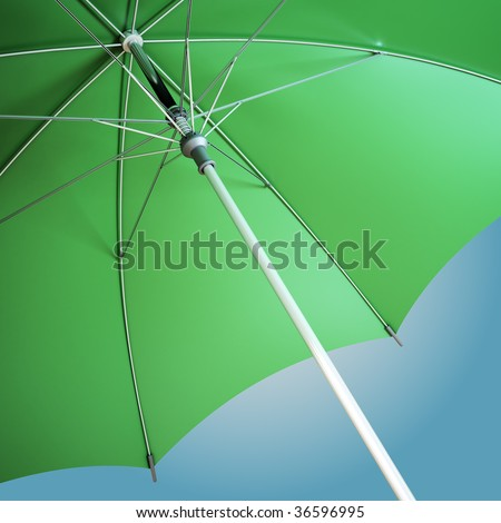 Close-up view of an open umbrella - stock photo