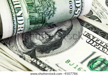 Close-up view of banknotes. Shallow DOF - stock photo
