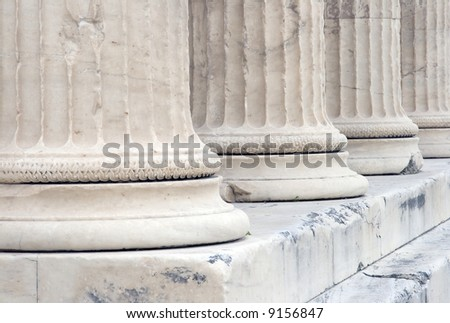 Close up view of base of columns on the Erechtheum at the Acropolis in Athens, Greece. c 5th century B.C.