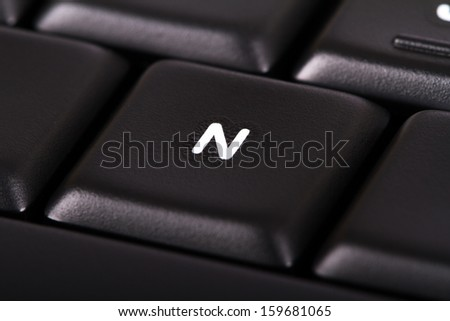 Close up view of black computer keyboard. - stock photo