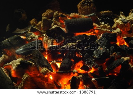 Close up view of burning charcoal. - stock photo