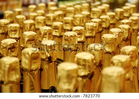 Close up view of Champagne corks (shallow DOF) - stock photo