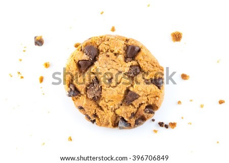 Close up view of chocolate chips cookies with crumb isolated on white - stock photo