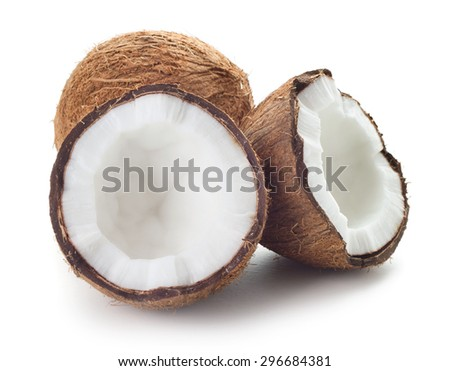 close-up view of coconuts isolated on white background