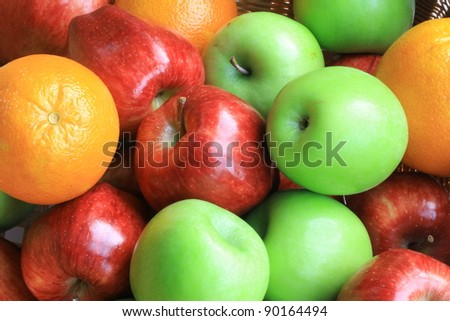 close-up view of colorful fruits - stock photo