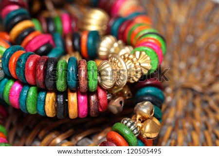 Close up view of colorful india bracelet. - stock photo