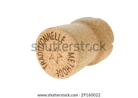 close up view of cork with sign traditional  method isolated - stock photo