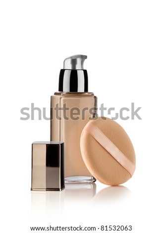 Close up view of Cosmetic liquid foundation on white back - stock photo