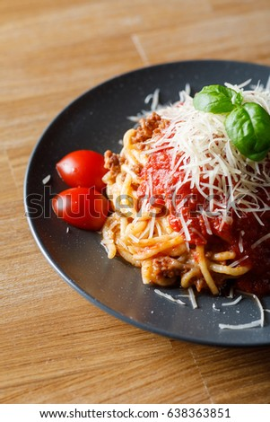Close-up view of delicious pasta with tomato and meat. Stock image