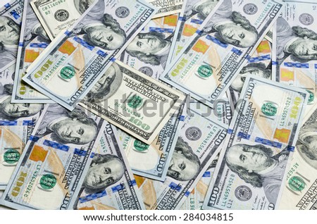 Close up view of 100 dollars - one hundred dollar (dollar banknote). Full frame of american dollars. - stock photo