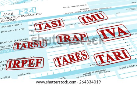 close up view of F24 form for italian taxes,the words: imu, irap, irpef, iva, tares, tari, tarsu, tasi(3d render) - stock photo