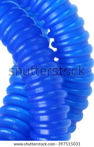 Close Up View of Flexible Plastic Tubes on White Background - stock photo
